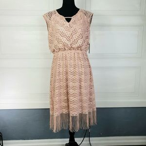 Wrapper Dress Blush Pink Crocheted Lace & Fringe